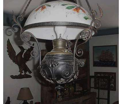 BEAUTIFUL~RARE* VTG Wrought Iron Hanging Parlor Lamp is a Antiques for Sale in Lee MA