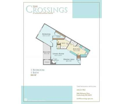 1 Bed - The Crossings at Washingtonian Center at 9806 Mahogany Dr in Gaithersburg MD is a Apartment