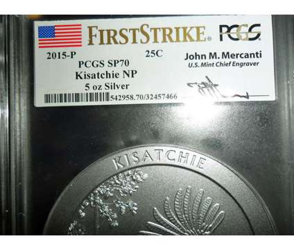2015-P F/S PCGS SP 70 KISATCHIE NATIONAL PARK 5 oz. SILVER QUARTER with JOHN M is a Coins for Sale in New York NY