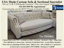 Custom USA made Sofa - Sectional - Loveseat - Chair & More