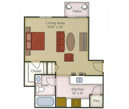 Studio - The Villas at 2085 Waterford Place in Indianapolis IN is a Apartment