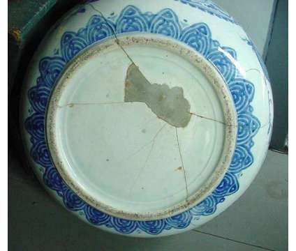 Large Vintage Blue & White Decorated Oriental Asian Victorian Garden Fish Bowl is a Blue, White Antiques for Sale in Lee MA