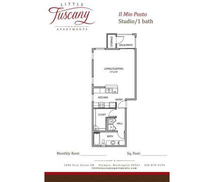 Studio - Little Tuscany Apartments - BRAND NEW LUXURY LIVING at 1000 Fern St Sw in Olympia WA is a Apartment