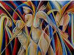 Abstract Nude I by G. Menna - Original Oil On Paper