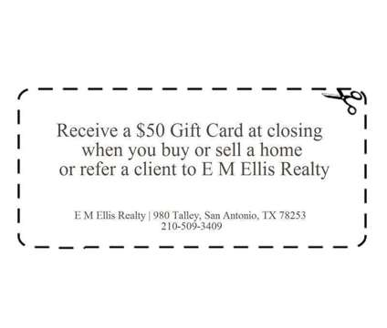 Gift card coupon when you buy or sell a home or refer a client to E M Ellis Real is a Services service in San Antonio TX