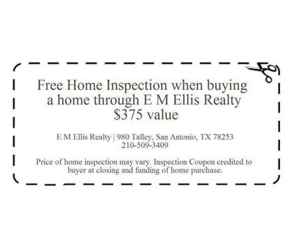 Home inspection coupon when you purchase a home through E M Ellis Realty is a Services service in San Antonio TX
