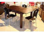 New 50 Off Espresso Extension Table With Legs Wrapped In Leather