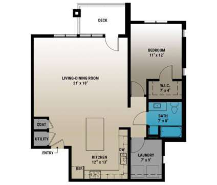 1 Bed - Brookside Apartments at Fallbrook at 7300 Tallgrass Parkway in Lincoln NE is a Apartment