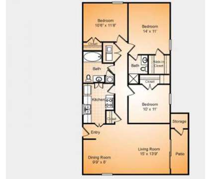 3 Beds - Stonesthrow Apartments at 3501 Farmington Dr in Greensboro NC is a Apartment