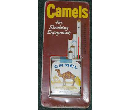 Vintage Camel's Cigarette Working Thermometer Metal 3-D Sign is a Antiques for Sale in Edgefield SC