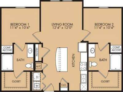 2 Beds - Oak Forest