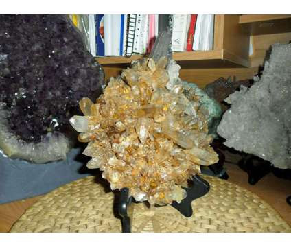 Beautiful Huge Smokey Crystal Burr Cluster with Iron Oxide Crystals is a Green, Purple Collectibles for Sale in New York NY