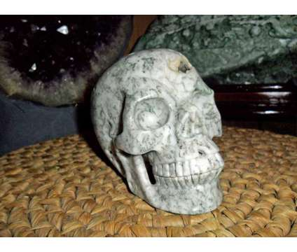 Exceptionally Gorgeous and Beautiful Tree Agate Carved Crystal Skull is a Green, White Collectibles for Sale in New York NY