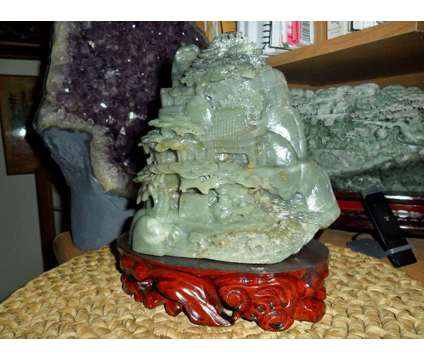 Exceptional Antique Chinese Hand-Crafted Carved Hetian Jade Statue & Landscape P is a Green, Grey, White Collectibles for Sale in New York NY