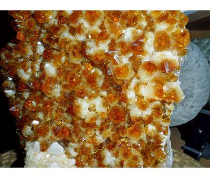 Beautiful Huge Ultra Rare Unique Citrine and Calcite Flower Cluster on Wood Stan is a White, Yellow Collectibles for Sale in New York NY