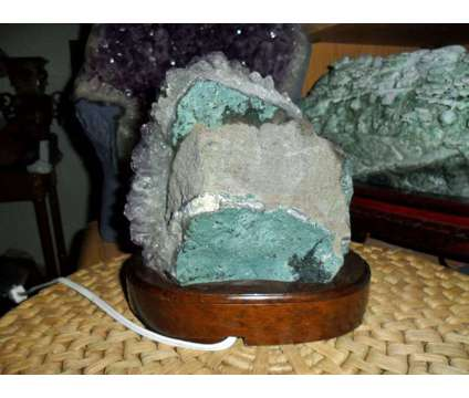 Exceptionally a Huge Amethyst Gemstone Light on a Wooden Base is a Brown Collectibles for Sale in New York NY