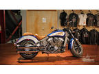 2018 Indian Motorcycle Scout ABS Brilliant Blue over White with Red Pinstripe
