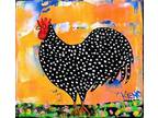 Details about �PLYMOUTH ROCK ROOSTER~TiNY painting Maine FOLK ART
