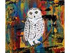 Details about �SNOWY OWL~bird~TiNY painting~Abstract~Maine FOLK ART