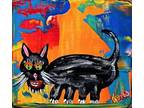 Details about �BLACK CAT~TiNY painting abstract~FOLK ART Maine