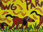 """Details about �Primitive FoLK ArT PAINTING Coon DaWg PaRade 6x24"""" Southern"""