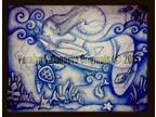 Details about �SURFER GIRL Original Drawing Art Abstract BLUE PERIOD