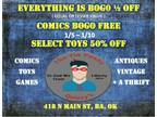 Everything is Bogo 1/2 off, Comics Bogo Free, Select Toys 50% off
