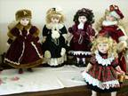 5 Porcelain Dolls. LIKE NEW..STANDS INCLUDED!! -