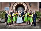 Green Tea length Bridesmaid dr