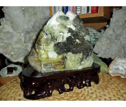 Beautiful 100% Natural DuShan Jade Handwork Carved Statue Mountain Water Scenery is a Collectibles for Sale in New York NY