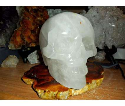 Exceptional and Beautiful Large Natural Crystal Skull Carving is a White Collectibles for Sale in New York NY