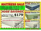 New Queen Mattress Sets Only $199, Full $189, Twin $159, We also Have King Size