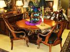 Old World Dining Tbl w/4 Leather Seat Chrs/Faux Marble Top Server -