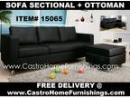 $379 Black Sofa Sectional * * ? * * Hyde Park Black Leather + Ottoman