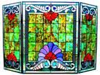 "Bold Victorian Splash Stained glass fireplace Screen D:44"", H:28.5"" GDCH44B977FS"