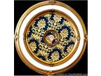 "31.5"" Gold and White with Blue Pattern Ceiling Medallion"
