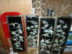 New old black lacquer oriental shell paintings
