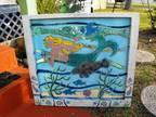Lovely Hand Painted Mermaid / Manatee / Nautical / Vintage Window!