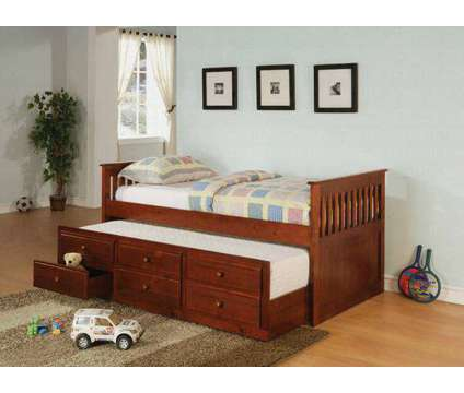 Mission Style Twin Bed with Trundle and Drawers is a Black, White Beds for Sale in Chicago IL