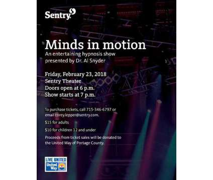 Minds in motion - hypnosis show is a Theater Ticket on Feb 23 in Stevens Point WI