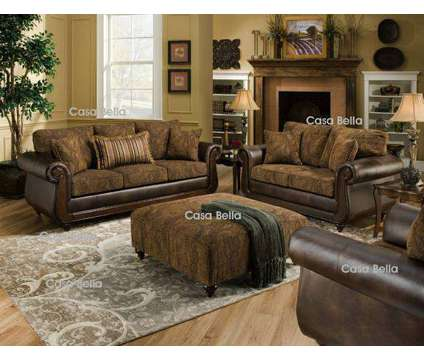 Classy Sofa and Loveseat in Two Tone and Material Design is a Brown Sofas for Sale in Chicago IL