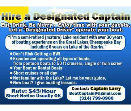 Hire an Experienced Captain is a Other Services service in Lake Ozark MO