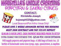Khristella's Unique Creations Popcorn & Snow Cones