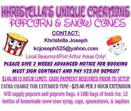 Khristella's Unique Creations Popcorn & Snow Cones is a Party & Entertainment Services service in Port Arthur TX