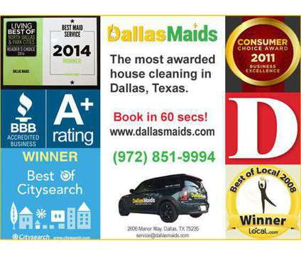 """Dallas Maids, Voted """"Best House Cleaning"""" in Dallas is a Home Cleaning & Maid Services service in Dallas TX"""