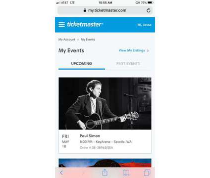 Two Paul Simon Tickets Key Arena May 18 - 5th Row Floor - Face Value is a Concert Ticket on May 18 in Seattle WA