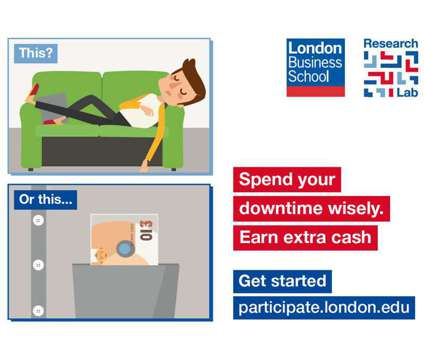Earn £10 in under an hour participating in behavioural research is a Part Time Earn in under an Hour in Research Job in St. Marylebone LND