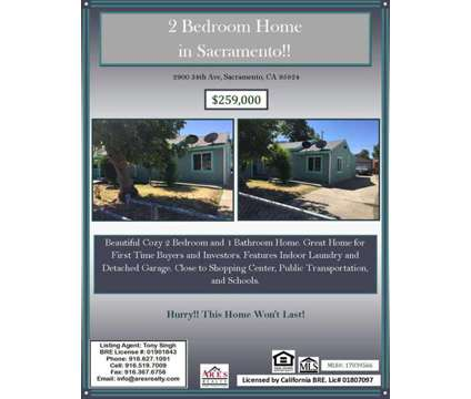House for sale, 2900 34th Ave at 2900 34th Ave in Sacramento CA is a Single-Family Home