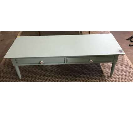 Light Blue Wood Coffee Table with 2 Drawers is a Blue Coffee Tables for Sale in Orlando FL