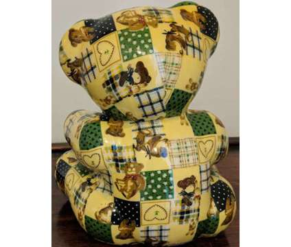 Vintage Ceramic Decoupage Teddy Bear is a Black, Brown, Green, Yellow Collectibles for Sale in Novato CA